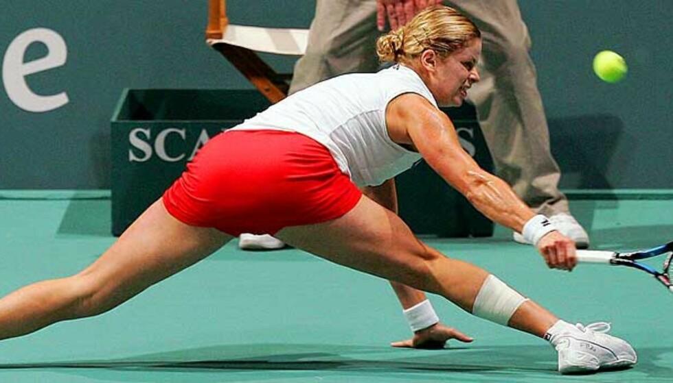 I FORM: Kim Clijsters er i storslag, og bekreftet det med dagens finaleseier. Foto: Reuters/Scanpix