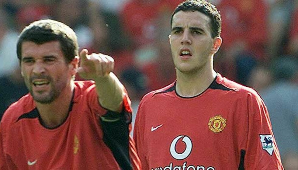 KNEBLET: Roy Keane følte at John O\'Shea (t.h.) og andre lagkamerater trengte en oppstrammer og sa sin hjertens mening til Uniteds egen TV-kanal MUTV. Det ble for kraftig kost for klubben, som sensurerte sin egen kaptein. Foto: AP/Scanpix