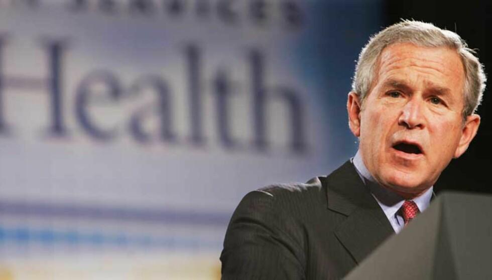 ADVARER: George W. Bush under dagens tale på det amerikanske folkehelseinstituttet. Foto: Scanpix