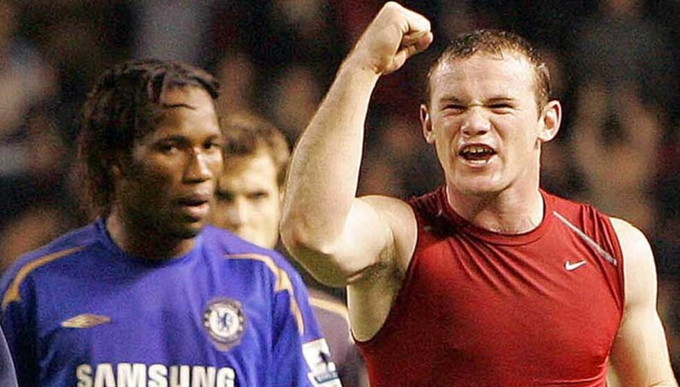 STERK SEIER: Chelsea og Didier Drogba (t.v.) er ikke akkurat vant til å tape. Men i dag tapte de for Manchester United og Wayne Rooney. Foto: Jon Super/AP/Scanpix