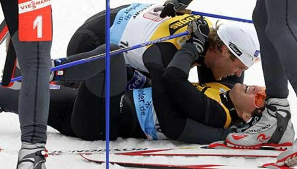 DUMT AVBREKK: Johan Kjøstad viste fin form i Oberstdorf for to uker siden. Da vant han sprintstafetten sammen med Trond Iversen. Foto: Scanpix