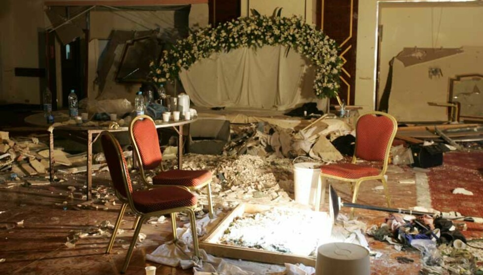 BRYLLUPSLOKALE: Flere mennesker omkom da en av de tre selvmordsbombene gikk av i dette selskapslokalet på SAS Radisson i Amman. Al Qaida har tatt på seg ansvaret for angrepet og hevder fire irakere planla og gjennomførte terrorhandlingen. Foto: Hussein Malla/AP