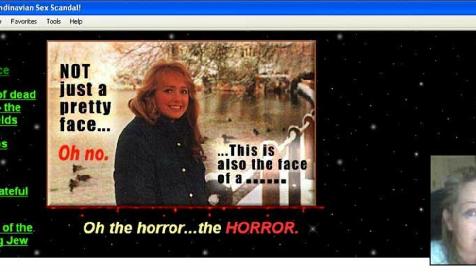 NETTSJIKANE: På dette nettstedet driver briten sjikane av Heidi Schøne (innfelt). Tross at han i 2003 ble dømt til å fjerne nettsidene, ligger de fremdeles på nett.