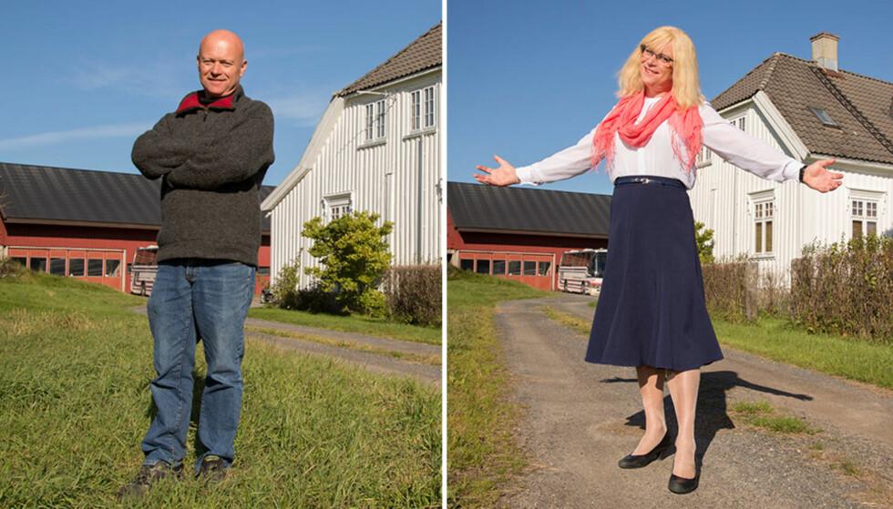 EKTE MANNFOLK OG KLASSISK KVINNE: Per Halvor Kaja Mostad elsker å være mann i hverdagen. Når han ønsker å pynte seg kler han seg derimot om til kvinne. I mange år holdt han det hemmelig at han er transvestitt, men nå er han glad for å være åpen om legningen. Foto: Morten Eik