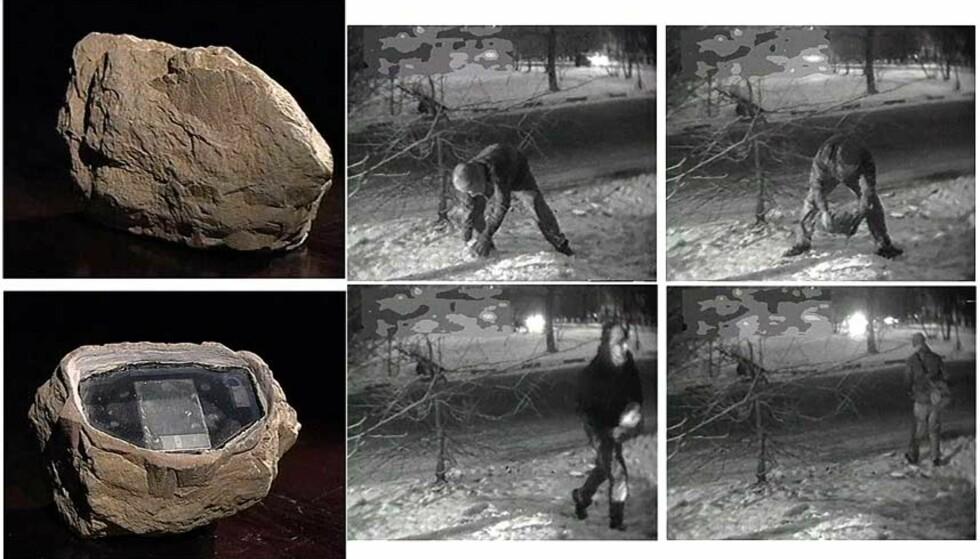 SPIONSTEIN: Her fjernes den falske steinen av en angivelig britisk diplomat. Steinen var proppfull av høyteknologi og trådløs sender. Ved hjelp av håndholdte lagringsenheter skal agentene ha utvekslet hemmeligheter via steinen. Foto: Scanpix