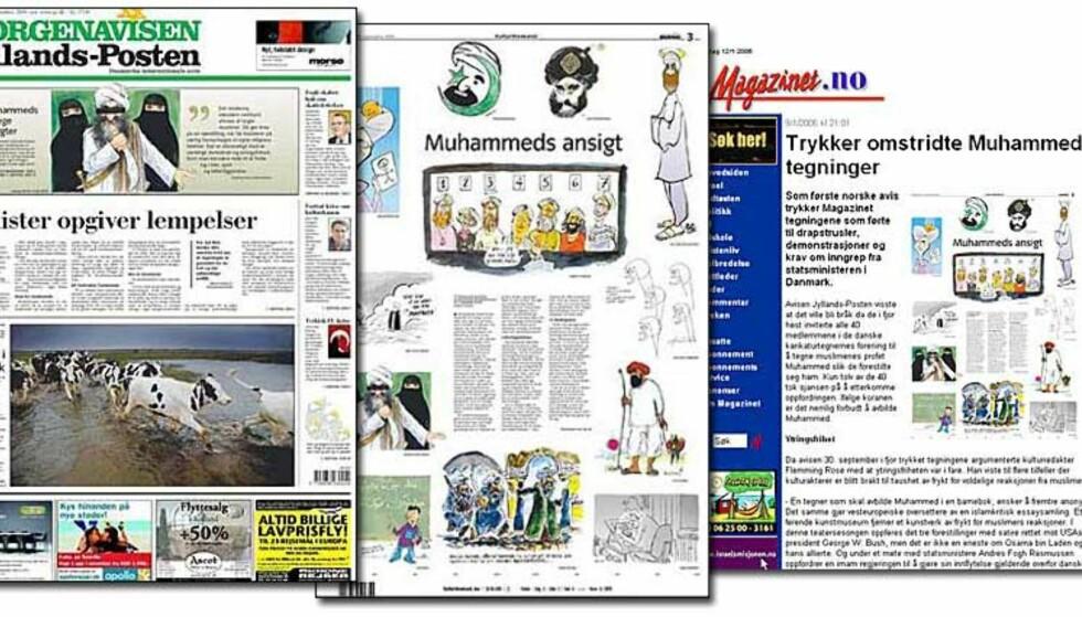 TEGNEBRÅK: Jyllands-Postens Muhammed-karikaturer har skapt enorm furore i den muslimske verden. I følge Islam er det forbudt å portrettere profeten. Nå har UD sendt instrukser på hvordan ambassadene skal svare på kritikken. Faksimile: Jyllands-Posten og Magazinet