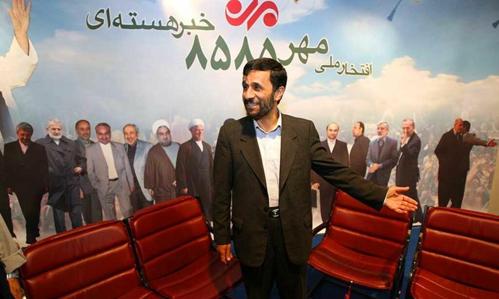 STERKE UTTALELSER: Irans president Mahmoud Ahmadinejad lurer på om George Bush er fornøyd med verden og USAs politikk. Foto: Scanpix