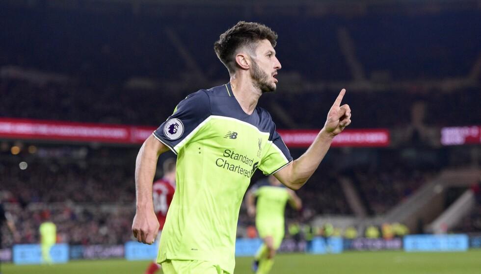 DOBBEL: Adam Lallana kunne juble for sin andre scoring mot Middlesbrough. Foto: Greig Cowie/BPI/REX/Shutterstock/NTB Scanpix