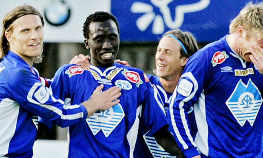 TO MÅL: Senegalesiske Pape Pate Diouf nettet to ganger og sikret Molde-seier på Hamar. Foto: SCANPIX