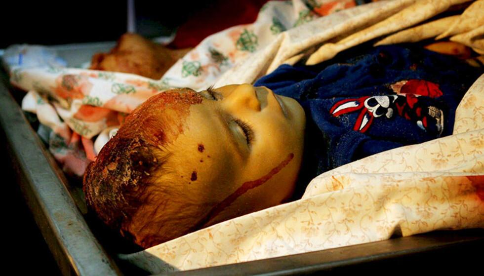 DREPT: Denne lille gutten ble drept av israelske styrker på stranda. Foto: Scanpix