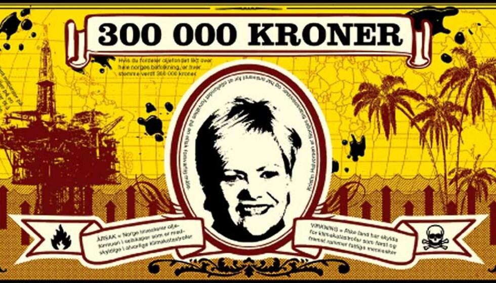 FLYGEBLADENE: Kristin Halvorsens portrett på 300 000-kronersseddelen som skal omvende oljefondet fra å investere pengene i klimaødeleggende selskaper. Foto: Changemaker