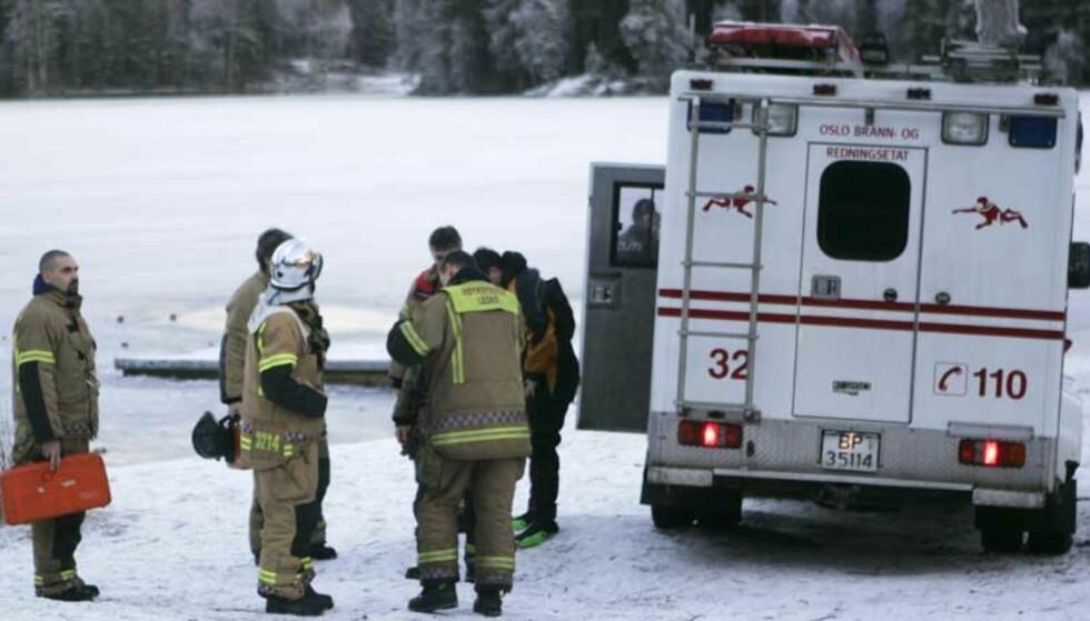 OMKOM: En 77 år gammel mann omkom da han falt gjennom isen på Nøklevann. Foto: SCANPIX