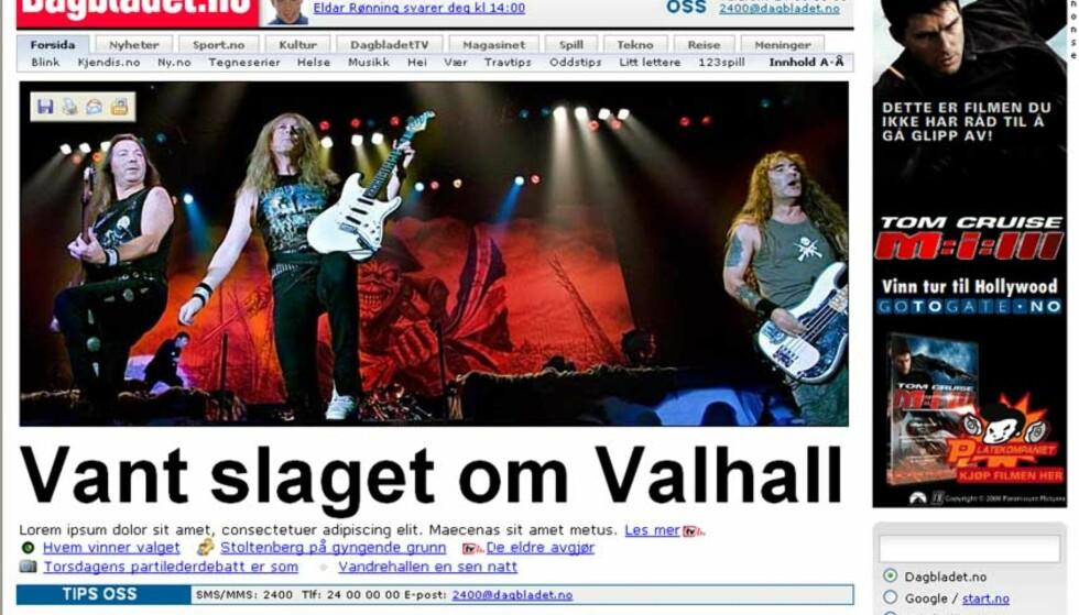 SLIK BLIR DAGBLADET.NO I DAG:  Dagbladet.no lanserer ny forside i dag.