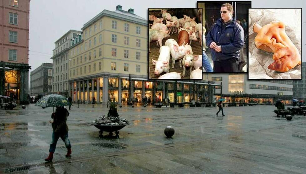 HOLDER DEM UNNA:  Bystyremedlem Kenneth Rasmussen (innfelt) i Bergen er sterkt i mot fredagsbønn på Torgallmenningen. Og han har et forslag til byrådet om hvordan muslimene kan holdes unna. Foto: Paul S. Amundfsen, Dagbladet/Scanpix/Demokratene/Gilde.