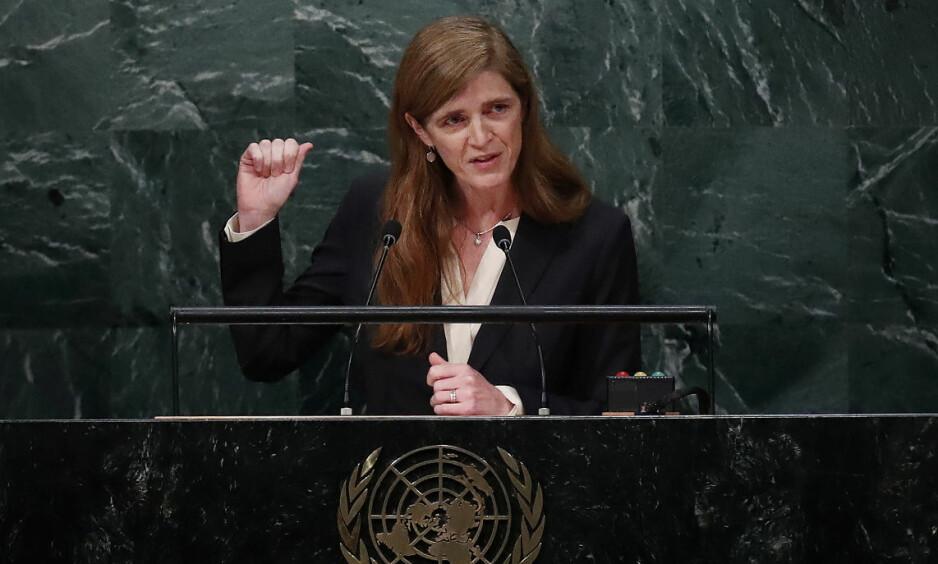 BRUKTE STORSLEGGA: USAs FN-ambassadør Samantha Power sparte ikke på kruttet i FNs sikkerhetsråd tirsdag. Foto: Reuters/Scanpix NTB