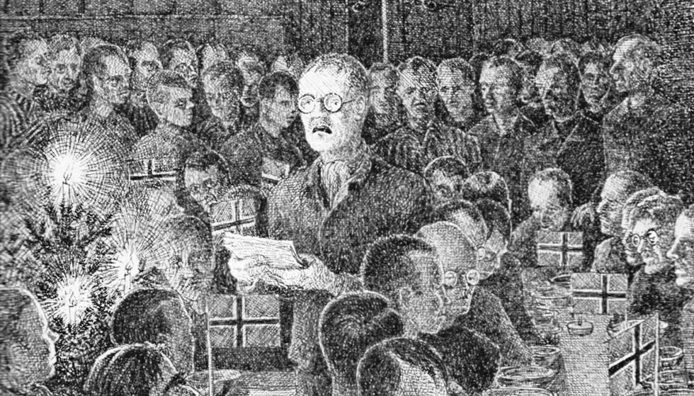 FARLIG KUNST: Arnulf Øverland leser dikt for sine norske fangekamerater i Sachsenhausen. (Tegning: Odd Nansen)
