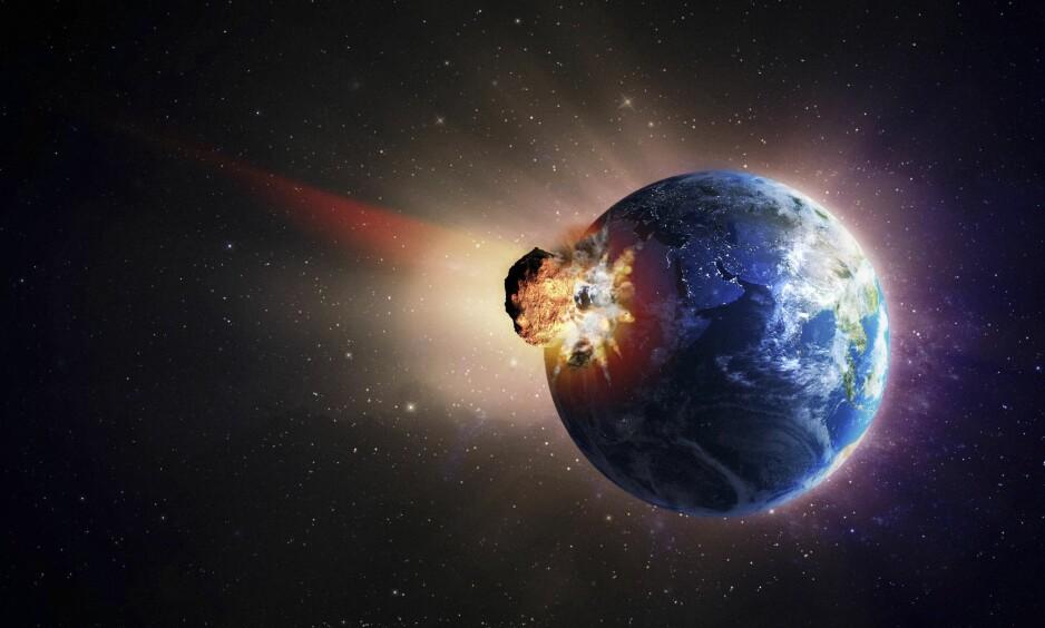 KATASTROFE: Skulle en asteroide av denne størrelsen treffe jorda, ville det truet eksistensen av alt liv på planeten. Illustrasjon: Science Photo Library / NTB Scanpix