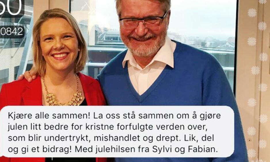 FELLES JULEØNSKE: Sylvi Listhaug og Fabian Stang vil at DU skal gi, like og dele. Skjermdump fra statsrådens Facebook-side.