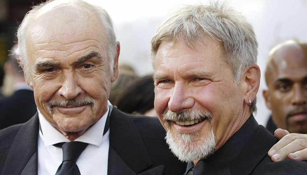 INGEN GJENFORENING: Sean Connery og Harrison Ford blir ikke far og sønn i den fjerde Indiana Jones-filmen. Førstnevnte vil nemlig ikke være med. Foto: SCANPIX/AP
