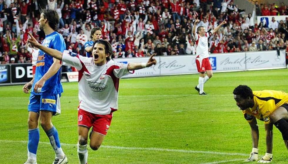 ETT STEG NÆRMERE: Tarik Elyounoussi og FFK-gutta kom i dag ett steg nærmere gruppespillet i UEFA-cupen, uten å løfte en finger. Foto: JOHN TERJE PEDERSEN
