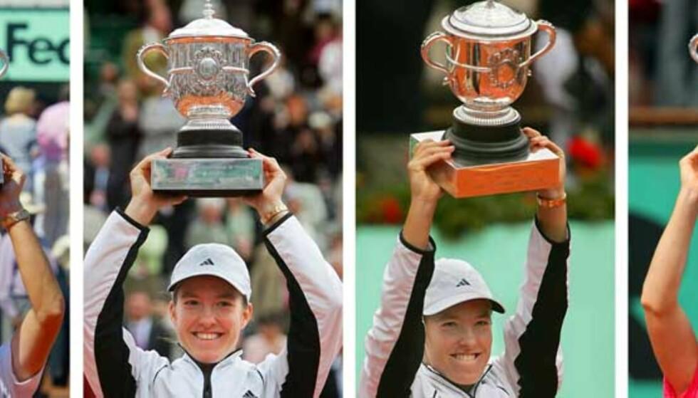 FOR FJERDE GANG: Justine Henin har nå vunnet French Open fire ganger, og tre ganger på de tre siste åra. Akkurat nå er det ikke noe som tyder på at noen skal klare å dytte henne ned fra tronen med det første heller. Foto: AFP