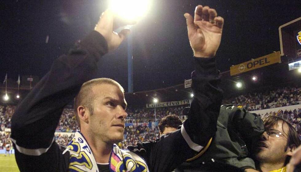 FARVEL MED ET SMELL? David Beckham kan krone en unik karriere i europeisk fotball med å vinne seriegull for Real Madrid i kveld. Foto: Javier Cebollada/EPA/Scanpix