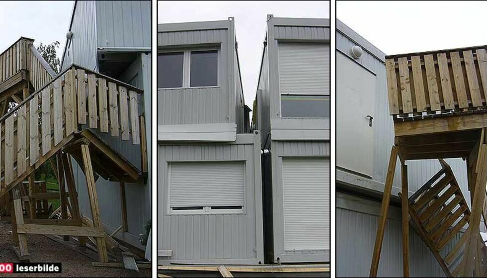 DETTE VAR ET LEKEROM: Men brakke-barnehagen delte seg i to (midterste bilde) da fundamentet kollapset. Foto: STEIN DANIELSEN