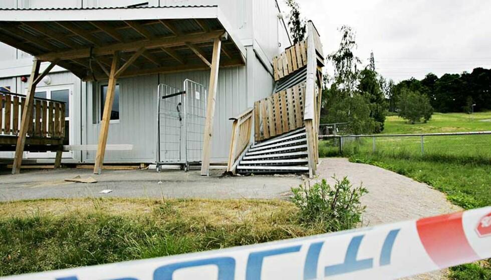 LIVSFARLIG KOLLAPS: Tonsenhagen og Refstad midlertidige barnehage brøt sammen sist søndag. Foto: FRANK KARLSEN