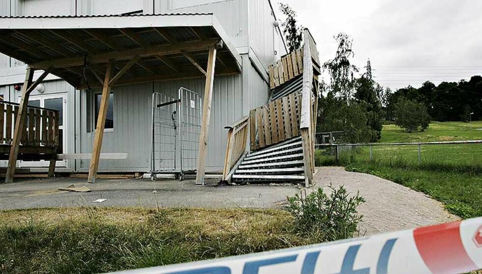 LIVSFARLIG KOLLAPS: Tonsenhagen og Refstad midlertidige barnehage brøt sammen 17.juni. Foto: FRANK KARLSEN