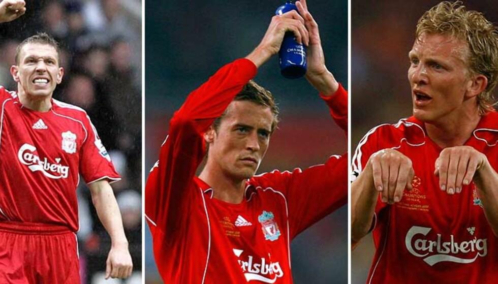 FORSVINNER TROLIG: Minst en av disse tre forsvinner trolig ut av døra på Anfield i sommer. Foto: AP, Reuters