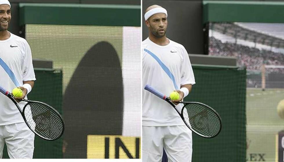 BLID - SUR: Hawk-Eyes avgjørelse om hvorvidt ballen er inne eller ute har frambrakt mange reaksjoner i løpet av årets Wimbledon-turnering i tennis. Her er det USAs James Blakes ansiktsuttrykk som er fanget inn. Foto: ANJA NIEDRINGHAUS/AP/SCANPIX