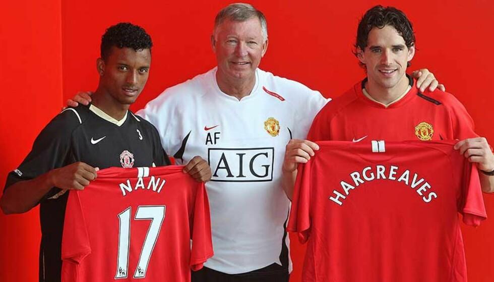 HANDLER: Alex Ferguson føler seg trygg på at Crlos Tevez vil gå fra West Ham til Manchester United. I dag presenterte United-sjefen nyervervelsene Nani og Owen Hargreaves. Foto: Andrew Yates/AFP