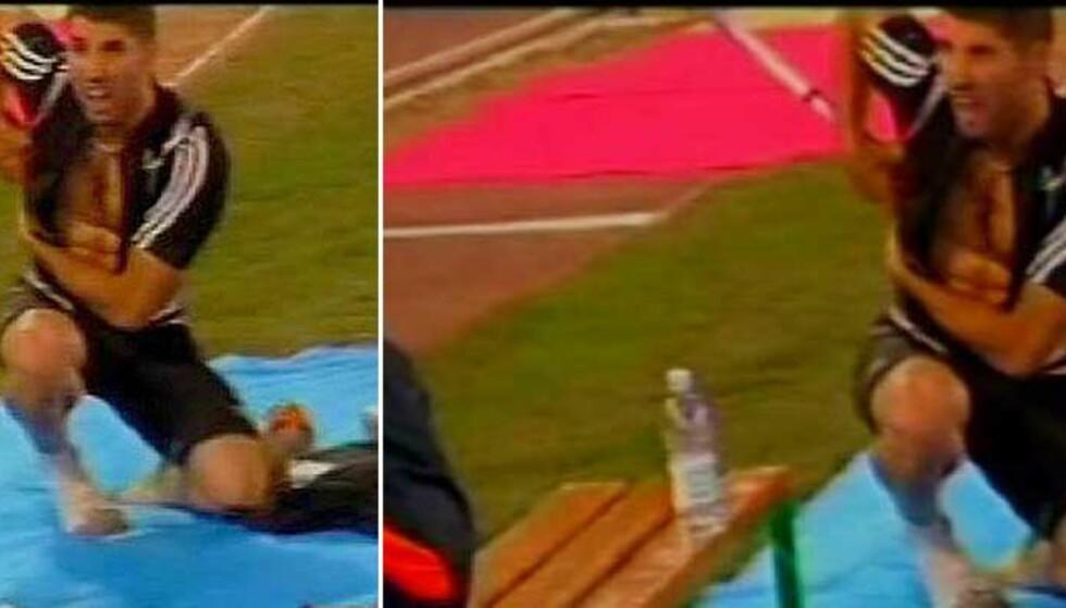 - IKKE LIVSTRUENDE: De første rapportene går på at lengdehopperen Salim Sdiri ikke er veldig hardt skadd, men han skal nå gjennom videre undersøkelser for forhåpentligvis å fastslå at han kommer godt fra ulykken. Foto: TV4