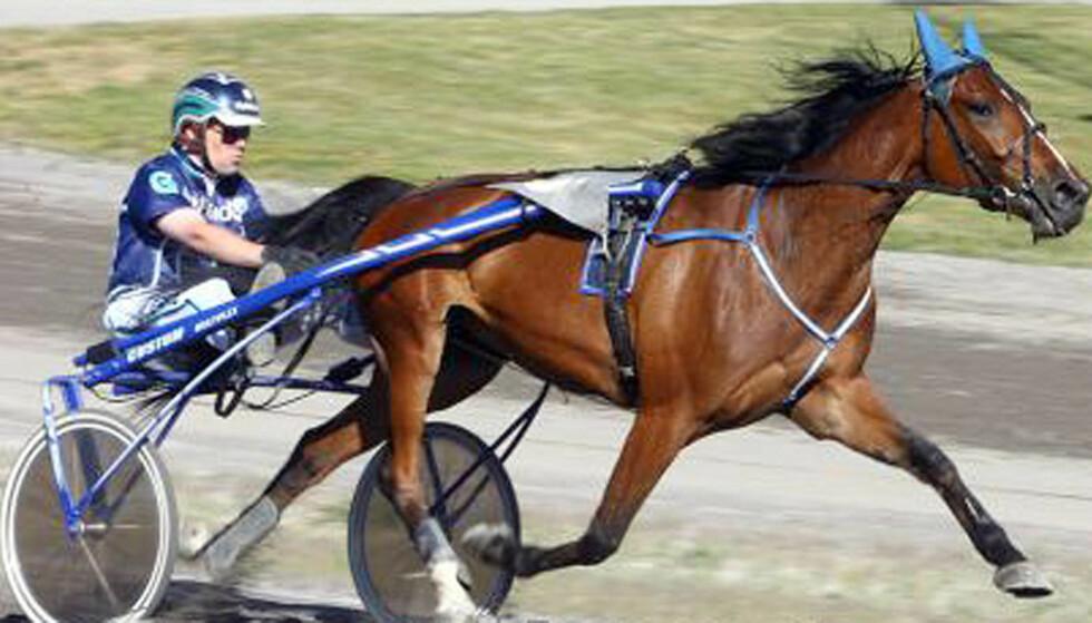 STRÅLENDE COMEBACK:  Etter mer enn et ghalvårs avbrekk på grunn av skader, var fjorårets beste unhghest tilbake medbrask og bram sist fredag. Lørdag blir hun storfavoritt sammen emd kusken Geir Vegard Gundersen i hoppeavdelingen av Jarlsberg Grand Prix i V75-3. Foto: hesteguiden.com