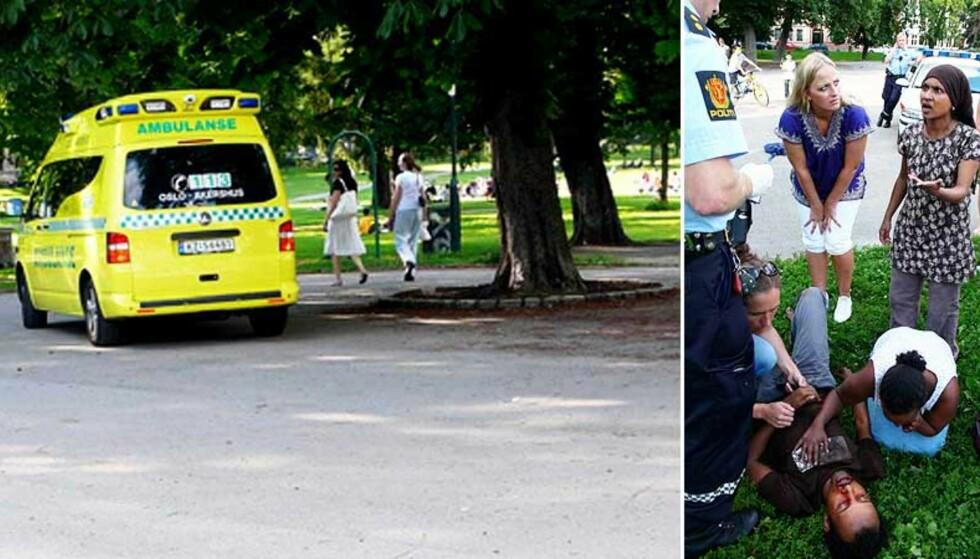 DRAMATISKE MINUTTER: Det var på mandag denne uka Ali Haji Mohamed Farah (37) ble brutalt slått ned i Sofienbergparken, i påsyn av flere vitner. Ambulanse kom til stedet, men dro igjen uten den sterkt skadde mannen. Foto: CAROLINE DREFVELIN