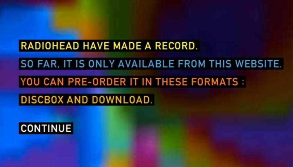 DU BESTEMMER PRISEN: Velger du å laste ned Radioheads nye album, bestemmer du selv hva det skal koste.