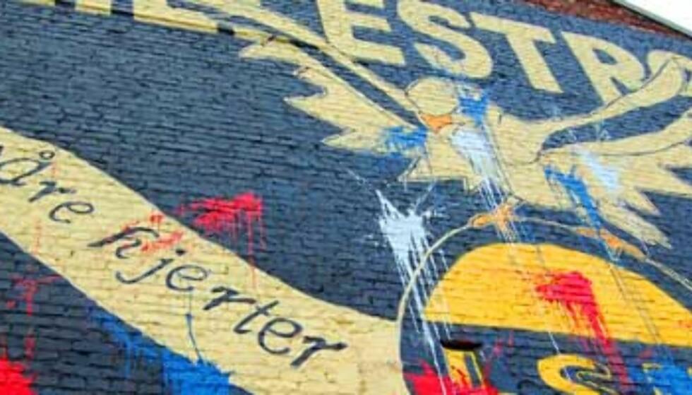 Denne LSK-veggen ble malt i VIF-farger i natt