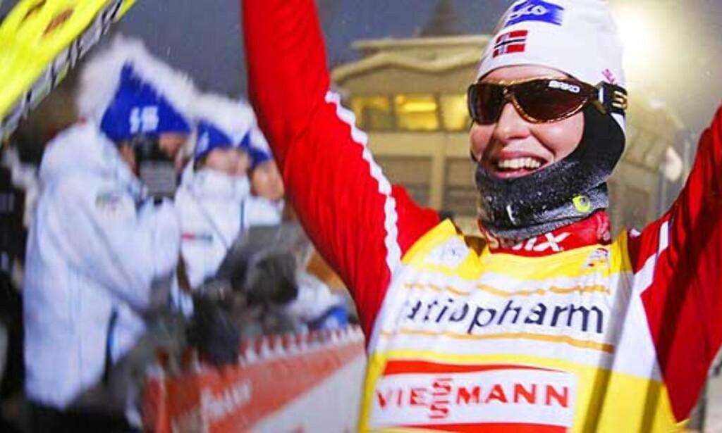VANT SIST HELG: Marit Bjørgen gikk til topps i Kuusamo, nå er hun blitt forkjølet. Foto: Scanpix
