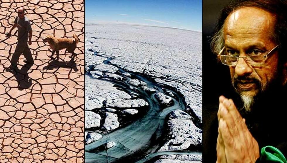 MER TØRKE, ISFRITT ARKTIS OG EN BEKYMRET KLIMASJEF: Hva vil skje med verden dersom Dr. Rajendra K. Pachauri har rett? Og kan oppvarmingen stoppes? Du kan få svar av klimasjefen selv. Foto: Scanpix