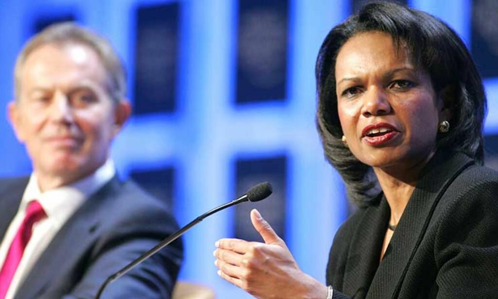 DAVOS:  Den amerikanske utenriksministeren Condoleezza Rice forsøkte i dag å berolig den økonomiske verdenseliten under åpningen av Verdens økonomiske forum i Davos i Sveits. Foto: AP Photo/Michel Euler