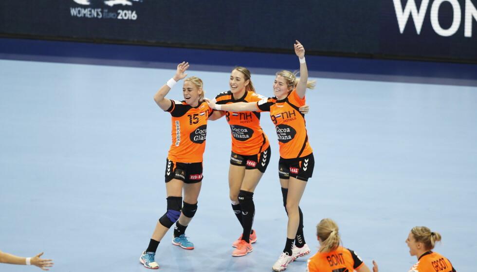 JUBEL: Nederland er klare for EM-finale etter seier mot Danmark. Nå venter finale søndag. Foto: Bjørn Langsem / DAGBLADET