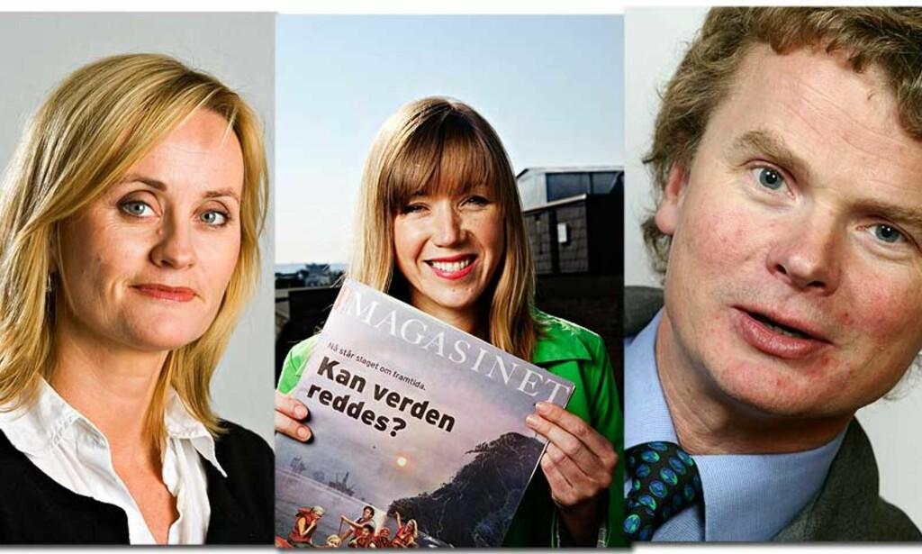 LEDERKABAL: Hege Duckert (til venstre) går av som kulturredaktør og blir kommentator i Dagbladet. Jane Throndsen er ny kultur- og magasinredaktør, og Lars Helle ny etikkredaktør. Foto: DAGBLADET/SCANPIX