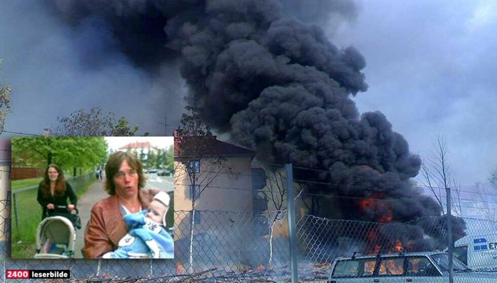 FLYKTET:  Bestemor Anita Pedersen løper vekk fra den voldsomme brannen med sitt seks måneder gamle barnebarn i armene. Kari Dalbak (til venstre) forteller at de fikk litt panikk. Foto:  Eivind S Kristensen/ August Lilleaas
