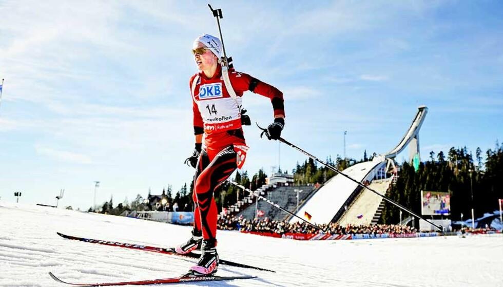 IKKE HOLMENKOLLEN: Solveig Rogstad og resten av skiskytterlandslaget får ikke oppleve VM i Holmenkollen 2013. Her fra verdenscupavslutningen i Holmenkollen tidligere i år. Foto: Thomas Skaug, Dagbladet