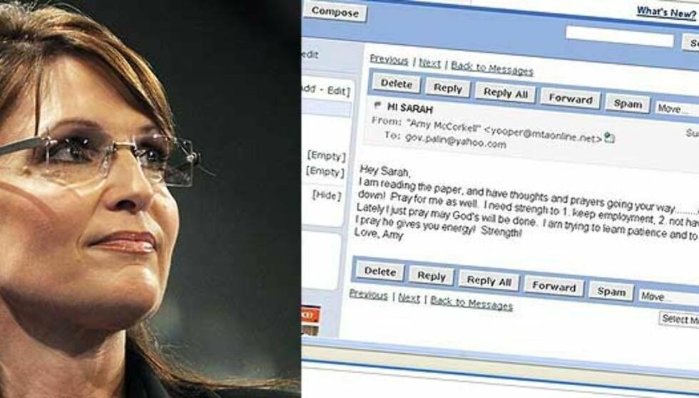 Sarah Palins e-post hacket