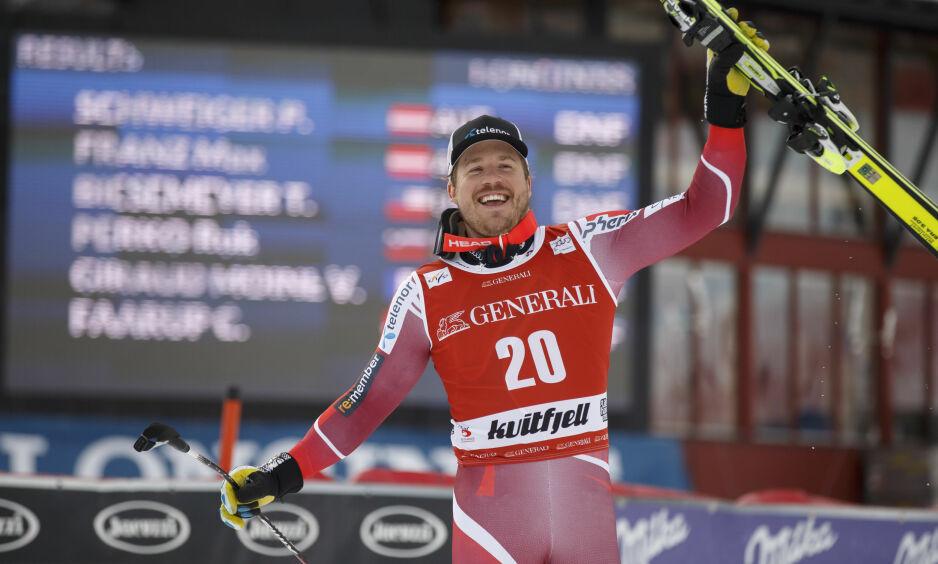 ELSKER HJEMMEBANEN: Kjetil Jansrud, her etter å ha vunnet super-G-rennet i Kvitfjell tidligere i år, elsker å kjøre i Kvitfjell. Han skulle gjerne hatt flere renn til Norge. Foto: Cornelius Poppe / NTB scanpix