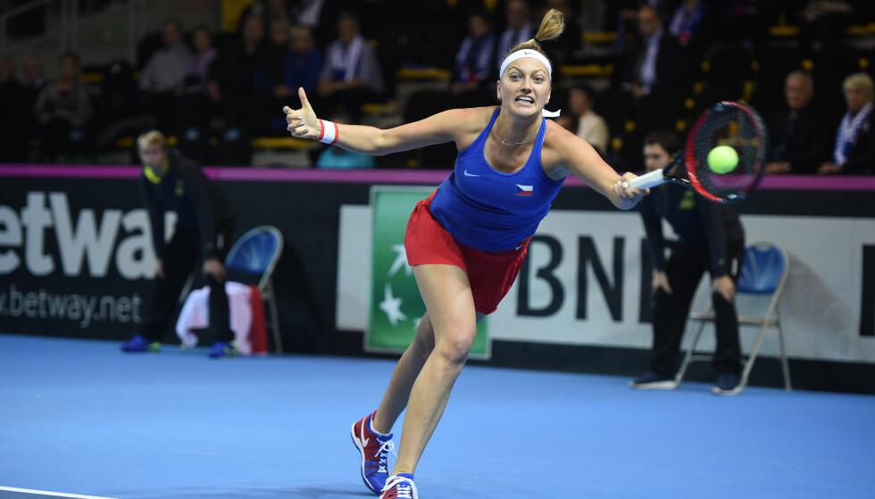 SKADD ETTER INNBRUDDSFORSØK: Den tsjekkiske tennisstjerna Petra Kvitova ble angrepet av innbruddstyv i sin egen leilighet. Foto: Corinne Dubreuil / ABACAPRESS.COM / NTB Scanpix