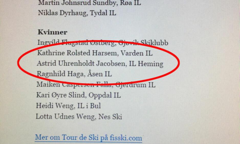 VAR MED FØRST: Her er lista over Tour de Ski-uttatte utøvere som først ble publisert på Norges Skiforbunds nettsider. Avgjørelsen om å bli hjemme ble tatt etter at Uhrenholdt Jacobsen hadde en fysisk test i morgentimene i dag.