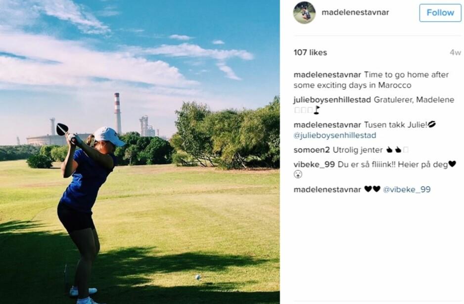 NY STJERNE: Madelene Stavnar kan bli Norges nye golfstjerne. Skjermdump: @madelenestavnar på Instagram