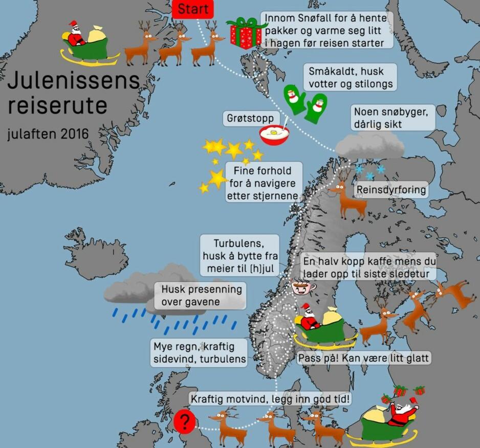 VÆRMELDINGEN: -Været for julaften, Julius, nå er det bare å våkne fra sovetåkam Meteorologisk institutt har hjulpet det på veien. Illustrasjon: Meteorologisk institutt.